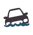 flooded car for danger weather vector image vector image