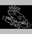 frog prince with crown in black background vector image vector image