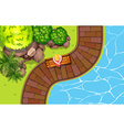 Girl sitting by the pool vector image vector image