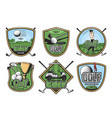 Golf sport retro badge with club ball and golfer