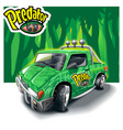 green cartoon patern off-road car on forest vector image