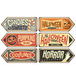 halloween events retro signs collection vector image vector image