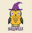 halloween owl in hat vector image