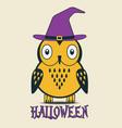halloween owl in hat vector image vector image