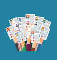 hands holding cv resume documents vector image vector image