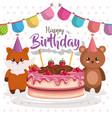 happy birthday card with bear teddy and fox vector image