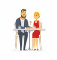 happy couple on a date - cartoon people character vector image