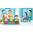 happy people in hospital vector image