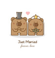 just married couple of bears vector image vector image
