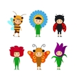 Kids in insect and flower dresses vector image vector image