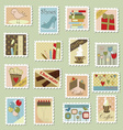 Large set of postage stamps vector image vector image