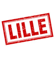 Lille red square grunge stamp on white vector image vector image