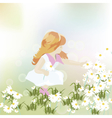 Little girl playing in a field of chamomile vector image