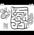 maze with bee coloring page vector image vector image