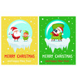 merry christmas elf and santa vector image vector image