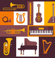 musical instruments flat style icons vector image