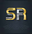 s and r initial gold and silver logo sr vector image