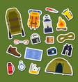 set of flat style camping elements stickers vector image