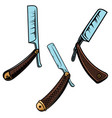 set og retro style barber razors design element vector image