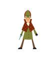 sherlock holmes detective character with gun vector image vector image