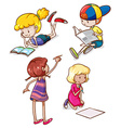 Simple sketches of kids reading and writing vector image vector image
