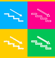 stair down with arrow four styles of icon on four vector image vector image