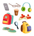 students items accessories set colorful vector image vector image