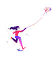 the girl is launching a kite start a new project vector image vector image