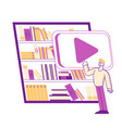 tiny man character stand at huge tablet with books vector image vector image