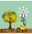 Tractor plowing earth vector image vector image