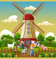 two boy are working again in front of windmill bac vector image vector image