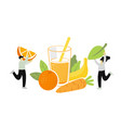 two people pick fruits and green leaf for juice or vector image vector image