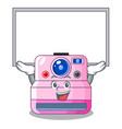 up board cute retro instant camera on cartoon vector image vector image