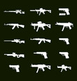 war icons white army weapons set of 15 army vector image