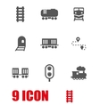 white railroad icon set vector image vector image