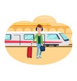 young refugee guy with baggage at railway station vector image vector image