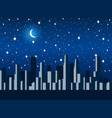 city at night with the moon and stars vector image