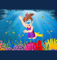 cartoon girl diving in the sea vector image