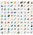 100 system icons set isometric 3d style vector image vector image