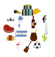argentina travel items icons set in flat style vector image vector image