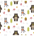 Bear and raccoon autumn white seamless pattern vector image