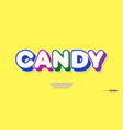 candy font 3d bold typography vector image