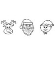 christmas set santa claus elf and rudolf the vector image