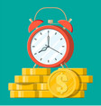 clock dollar golden coins vector image vector image