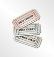Collection vintage free ticket vector image vector image