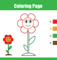 coloring page educational children game flower vector image