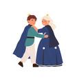 cute little prince and princess dancing at royal vector image vector image