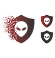 disappearing pixel halftone alien protection icon vector image vector image