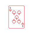 five of spades french playing cards related icon vector image vector image
