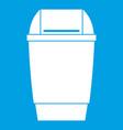 flip lid bin icon white vector image vector image